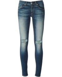 Rag & Bone Skinny Jeans with Distressed Effects - Lyst