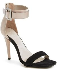 Calvin Klein 'Sable' Leather & Suede Ankle Strap Sandal - Lyst