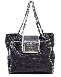Chanel Preowned Black Quilted Lambskin Eastwest Large Tote - Lyst