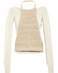 Loewe Silk Top With Knit Overlay - Lyst