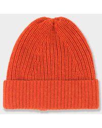 The Workers Club - Merino Tuck Rib Beanie Orange - Lyst
