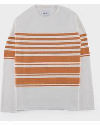 Albam - Striped Mid Weight Sweat White Burnt Orange - Lyst