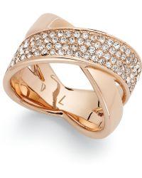 Michael Kors Rose Gold-tone Quartz Pave Criss-cross Band Ring - Lyst