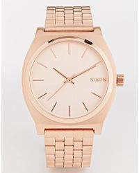 Nixon Time Teller Rose Gold Watch - Lyst