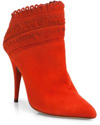 Tabitha Simmons Harmony Lasercut Suede Ankle Boots - Lyst