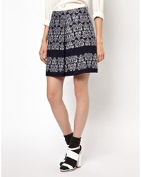 NW3 by Hobbs Printed Skirt with Box Pleat - Blue