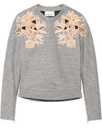3.1 Phillip Lim Guipure Lace-Paneled Cotton-Blend Sweatshirt - Lyst