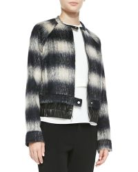 A.L.C. Mohair Plaid Bomber Jacket Navy Plaid 0 - Lyst