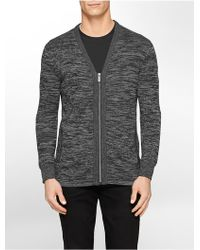 Calvin Klein White Label Space Dye Zip Front Cardigan gray - Lyst