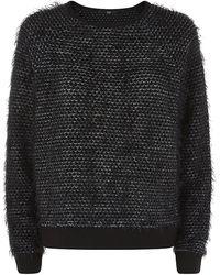 Tibi Furry Tweed Sweatshirt - Lyst