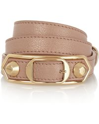 Balenciaga   Holiday Collection Triple Tour Textured-leather And Gold-tone Bracelet   Lyst