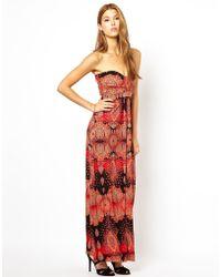 AX Paris Printed Strapless Maxi Dress - Lyst