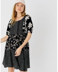 Accessorize Women's Black And White Check Floral Puff Sleeve Dress, Size: Xl