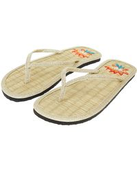 Accessorize - Lotus Embroidered Seagrass Flip Flops - Lyst