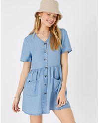 Accessorize Women's Blue Lightweight Chambray Mini Dress, Size: L