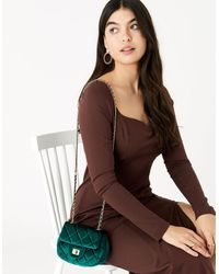 Accessorize Lucy Velvet Cross-body Bag Green