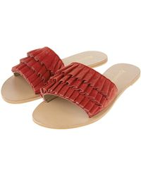Accessorize - Ruby Ruffle Suede Sliders - Lyst
