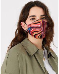 Accessorize Stripe Face Covering In Pure Silk - Multicolour