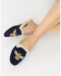 Accessorize Women's Navy Blue Embellished Cotton Bee Faux Fur Slippers, Size: M