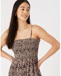 Accessorize Women's Brown, Black And Beige Leopard Print Cotton Bandeau Maxi Dress Brown, Size: Xs
