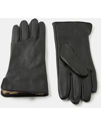Accessorize Leopard Faux Fur-lined Leather Gloves Leopard - Black