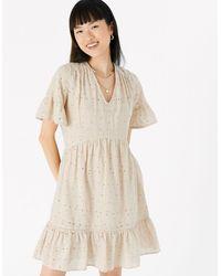 Accessorize Women's Beige Lightweight Cotton Schiffli Mini Dress, Size: Xs - Natural