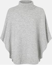 Accessorize Women's Grey Acrylic Cosy Knit Poncho, Size: 100x70cm