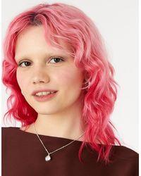 Accessorize Women's Silver Berry Blush Crystal Pendant Necklace, Size: 40cm - Multicolour