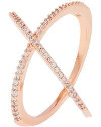 Accessorize - Rose Gold Criss Cross Crystal Ring - Lyst