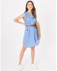 Accessorize Women's Blue Lightweight Cotton Relaxed Sleeveless Beach Shirt, Size: S