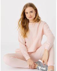Accessorize Women's Pink Organic Cotton Lounge Sweat Cropped Sweatshirt, Size: S