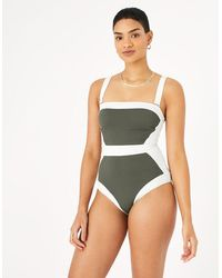 Accessorize Illusion Textured Shaping Swimsuit Green