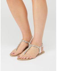 Accessorize Women's Silver Embellished Reno Sandals, Size: 39 - Multicolour