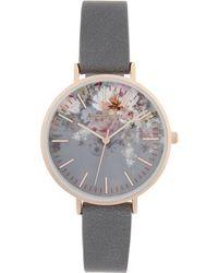 Accessorize Arabella Ombre Floral Print Watch - Gray