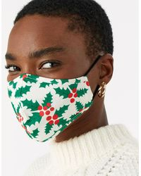 Accessorize Christmas Jolly Holly Face Covering - Blue
