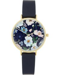 Accessorize Botanical Floral Print Watch - Blue