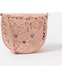 Accessorize Girls Pink And Gold Leopard Print Cat Cross-body Bag, Size: 12x13cm - Blue