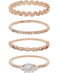 Accessorize - Rose Gold 4x Pretty Vine Stacking Ring Set - Lyst