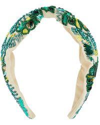 Accessorize Women's Green Embellished Wide Knot Headband, Size: 40x7cm - Multicolour