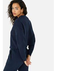 Accessorize Women's Navy Blue Organic Cotton Lounge Crop Sweatshirt, Size: M