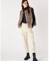 Accessorize Luxe Faux Fur Gilet - Natural