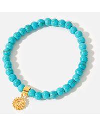 Accessorize Women's Gold And Blue Stone Beaded Throat Chakra Bracelet, Size: 18cm