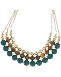 Accessorize - Beaded 3 Row Round Necklace - Lyst
