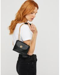 Accessorize Mini Cross-body Bag With Chain Strap - Black