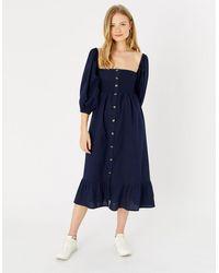 Accessorize Women's Navy Blue Lightweight Cotton Bardot Maxi Dress, Size: L