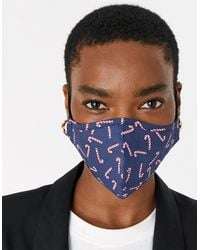 Accessorize Christmas Candy Cane Face Covering - Blue
