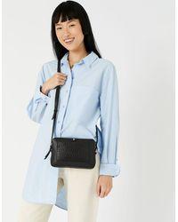 Accessorize Women's Black Stylish Crocodile Print Leather Hanna Double Zip Cross-body Bag, Size: 14x20cm
