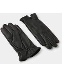 Accessorize Black Leather Basic Gloves, Size: S / M