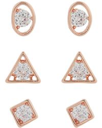 Accessorize - Rose Gold 3x Trapped Crystal Stud Earrings - Lyst