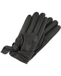 Accessorize Knotted Leather Gloves - Black